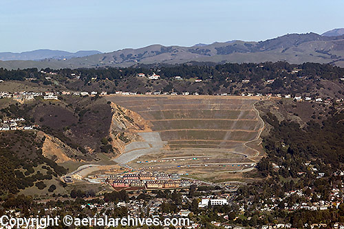 aerial view above residential real estate development  and landslide reinforcement, Caballo Hills, Oakland, California