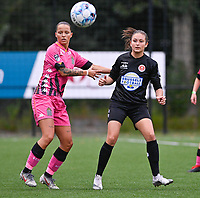 Alysson Duterne (14) of Sporting Charleroi pictured with Kenza Vrithof (9) of Woluwe during a female soccer game between Sporting Charleroi and White Star Woluwe on the first matchday in the 2021 - 2022 season of Belgian Scooore Womens Super League , friday 20 August 2021 in Marcinelle , Belgium . PHOTO SPORTPIX | DAVID CATRY