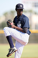 New York Yankees minor league pitcher Jose A. Ramirez (73) vs. the Pittsburgh Pirates in an Instructional League game at the New York Yankees Minor League Complex in Tampa, Florida;  October 8, 2010.  Photo By Mike Janes/Four Seam Images