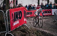 Evie Richards (GBR/TrekFactoryRacing) leading the race<br /> <br /> Women U23 Race<br /> UCI CX Worlds 2018<br /> Valkenburg - The Netherlands