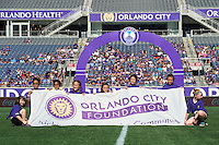 Orlando, Florida - Sunday, May 8, 2016: The Orlando City Foundation banner is displayed prior to a National Women's Soccer League match between Orlando Pride and Seattle Reign FC at Camping World Stadium.