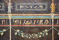 "Roman fresco wall decorations of the Triclinium C, Villa Farnesia, Rome. Museo Nazionale Romano ( National Roman Museum), Rome, Italy.<br /> <br /> In the center of the dining room was a table, with three couches (klinai in Greek, hence the name ""triclinium"") on which the diners reclined as they ate. The southern exposure of the room and its main color suggest it was meant to be used in the winter. The architect Vitruvius, writing in the 1st century after Christ, recommends a dark background that will absorb heat to make the rooms warmer in cold weather. The black color (atramentum), made from a mixture of charcoal and glue, was resistant to smoke from the fire and soot from the lamps. On the dark background delicate landscapes are painted in light colors: cityscapes with buildings, arches, and gateways, and rural scenes showing huts, animals, and rustic shrines. The lavish decoration is broken up by slender columns festooned with ivy. The capitals are crowned by graceful female figures (caryatids). A frieze at eye level has scenes in which the same figures keep reappearing: popular tales depicted in a lively fashion. The scenes of the frieze start with the rear of the right wall. Also on this wall, near the doorway. can be seen a restoration made in antiquity to close off another entrance. We can identify a part of the polychrome mosaic pavement of this room. with meanders and stacked cubes rendered in perspective. The modem arrangement does not reproduce the or final. but is intended to suggest the effect of the pavement in the room"