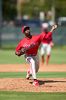 Philadelphia Phillies pitcher Jaylen Smith (12) during an Extended Spring Training game against the Toronto Blue Jays on June 12, 2021 at the Carpenter Complex in Clearwater, Florida. (Mike Janes/Four Seam Images)