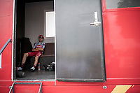 waiting for nature to do it's thing at doping control<br /> <br /> Stage 19: Ávila to Toledo (165km)<br /> La Vuelta 2019<br /> <br /> ©kramon