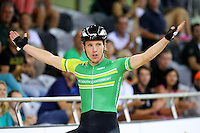 MSC Shane Archbold after finishing first with Dylan Kennett in the 40km madison at the BikeNZ Elite & U19 Track National Championships, Avantidrome, Home of Cycling, Cambridge, New Zealand, Sunday, March 16, 2014. Credit: Dianne Manson