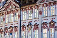 Europe/République Tchèque/Prague: Détail de la façade du Palais  Goltz-Kinsky