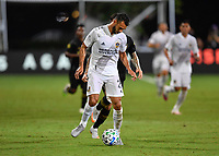 LAKE BUENA VISTA, FL - JULY 18: Giancarlo González #21 of LA Galaxy controls the ball during a game between Los Angeles Galaxy and Los Angeles FC at ESPN Wide World of Sports on July 18, 2020 in Lake Buena Vista, Florida.