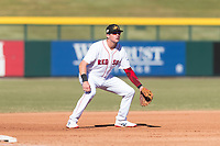 Mesa Solar Sox third baseman Bobby Dalbec (11), of the Boston Red Sox organization, during an Arizona Fall League game against the Surprise Saguaros at Sloan Park on November 15, 2018 in Mesa, Arizona. Mesa defeated Surprise 11-10. (Zachary Lucy/Four Seam Images)