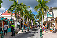 Philipsburg, Sint Maarten.  Front Street, Shops, Tourists, Local Residents.
