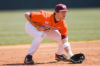 Third baseman Ronnie Shaban #29 of the Virginia Tech Hokies on defense against the Wake Forest Demon Deacons at English Field March 27, 2010, in Blacksburg, Virginia.  Photo by Brian Westerholt / Four Seam Images