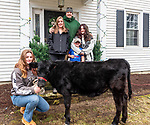 "NEW MILFORD, CT-123120JS03- Joe Quaranta and his wife Meredith, pose with their children Gabbi, 14; Phillip, 5, and Julianna, 11, as well as their rescue cow ""Maryland"" at their New Milford home on Thursday. Joe is the founder of Helping Hands for Heroes, an organization that gives back to the Greater New Milford community. <br /> Jim Shannon Republican-American"