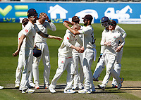 29th May 2021; Emirates Old Trafford, Manchester, Lancashire, England; County Championship Cricket, Lancashire versus Yorkshire, Day 3; Matt Parkinson of Lancashire celebrates with his team mates after he traps Harry Brookof Yorkshire lbw for 52 and Yorkshire are left on 180-6
