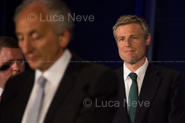 """(From L to R) Paul Golding, Jeff Jacobs & Zac Goldsmith MP.<br /> <br /> London, 06-07/05/2016. The morning after the London Mayoral Election, press began to congregate on the ninth floor of City Hall to report on the results and the official announcement of the new Mayor of London. At 15:21, the press team of City Hall announced the results by constituency. At just gone 17:30, the press videographers and photographers were escorted downstairs to the Chamber (second floor) to wait for the official final announcement. The press waited, however, almost five hours for this to happen. At 22:11, the Greater London Returning Officer, Jeff Jacobs, approached the stage and presented the new Greater London Assembly members. And, finally, at 12:18 on the 7th of May (just under nine hours after the first City Hall press announcement), Mr Jacobs officially announced the new Mayor of London, Sadiq Khan for the Labour Party. An official statement (that you can find at https://londonelects.org.uk/news-centre/news-listing/election-count-delay-explained and in the PDF attached to this story) was released on the 7th of May to explain the delay - which was previously described as being due to """"minor discrepancies in Mayoral figures"""". <br /> For more information, official statements, the results of the Mayoral Election and links for the London Assembly Members Election Results please find the PDF attached at the beginning of the story.<br />    <br /> London Mayoral Election 2016 Results:<br /> (Sources London Elects & Wikipedia)<br /> https://www.londonelects.org.uk/sites/default/files/Part%201%20Election%20of%20the%20London%20Mayor.pdf <br /> https://en.wikipedia.org/wiki/London_mayoral_election,_2016<br /> <br /> London Assembly Members Election 2016 Results:<br /> (Sources London Elects & Wikipedia)<br /> https://www.londonelects.org.uk/sites/default/files/London-wide%20Assembly%20Member%20results%202016.pdf<br /> https://en.wikipedia.org/wiki/London_Assembly_election,_2016"""