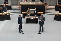 Plenarsitzung des Berliner Abgeordnetenhaus am Donnerstag den 20. August 2020.<br /> Im Bild: Die Vereidigung von Sebastian Scheel (Linkspartei), Senator fuer Stadtentwicklung und Wohnen des Landes Berlin durch den Parlamentspraesidenten Ralf Wieland, SPD, (rechts).<br /> Scheel ist der Nachfolger der zurueckgetretenen Senatorin Katrin Lompscher, zuvor war er der Staatssekretaer der Senatorin.<br /> 20.8.2020, Berlin<br /> Copyright: Christian-Ditsch.de<br /> [NUR FUER REDAKTIONELLE ZWECKE! Werbung nur auf Anfrage beim Fotografen. Inhaltsveraendernde Manipulation des Fotos nur nach ausdruecklicher Genehmigung des Fotografen. Vereinbarungen ueber Abtretung von Persoenlichkeitsrechten/Model Release der abgebildeten Person/Personen liegen nicht vor. NO MODEL RELEASE! Don't publish without copyright Christian-Ditsch.de, Veroeffentlichung nur mit Fotografennennung, sowie gegen Honorar, MwSt. und Beleg. Konto: I N G - D i B a, IBAN DE58500105175400192269, BIC INGDDEFFXXX, Kontakt: post@christian-ditsch.de<br /> Bei der Bearbeitung der Dateiinformationen darf die Urheberkennzeichnung in den EXIF- und  IPTC-Daten nicht entfernt werden, diese sind in digitalen Medien nach §95c UrhG rechtlich geschuetzt. Der Urhebervermerk wird gemaess §13 UrhG verlangt.]