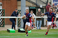 TRY - Luke Hibberd of London Scottish is the scorer during the Championship Cup match between London Scottish Football Club and Nottingham Rugby at Richmond Athletic Ground, Richmond, United Kingdom on 28 September 2019. Photo by Carlton Myrie / PRiME Media Images