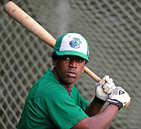 25 August 2008: Vermont Lake Monsters' infielder Dani Arias works in the batting cage prior to facing the Hudson Valley Renegades at historic Centennial Field in Burlington, Vermont. The Lake Monsters defeated the Renegades 8-5 in the second game of their three-game series in Vermont...Mandatory Credit: Ed Wolfstein Photo