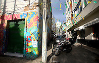 The 2014 FIFA World Cup mascot 'Fuleco' spray painted on a wall on a decorated street in Salvador, one of the 12 host cities