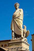 Statue Of Dante - Basilica Santa Croce - Florence Italy.