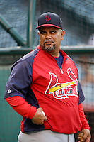St. Louis Cardinals coach Jose Oquendo #11 before a game against the Los Angeles Angels at Angel Stadium on July 3, 2013 in Anaheim, California. (Larry Goren/Four Seam Images)