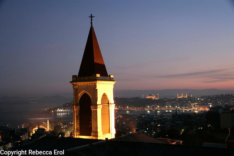VIEW OVER SAINT ANTHONY'S CATHOLIC CHURCH, ISTANBUL, TURKEY