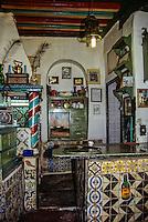 Tunisia, Sidi Bou Said.  Kitchen of the Cafe des Nattes, an Arab Coffee House.