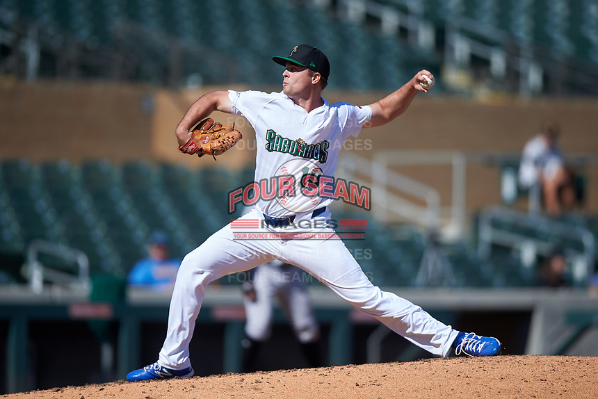 Surprise Saguaros relief pitcher Daniel Tillo (10), of the Kansas City Royals organization, during the Arizona Fall League Championship Game against the Salt River Rafters on October 26, 2019 at Salt River Fields at Talking Stick in Scottsdale, Arizona. The Rafters defeated the Saguaros 5-1. (Zachary Lucy/Four Seam Images)