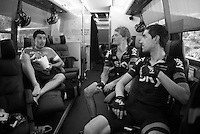 Mikel Nieve (ESP/SKY), Sergio Henao (COL/SKY) & Vasil Kiryienka (BLR/SKY) on the teambus after the last hard stage in this Vuelta.<br /> <br /> stage 20: San Lorenzo de el Escorial - Cercedilla (176km)<br /> 2015 Vuelta à Espana