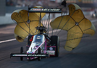 Nov 9, 2013; Pomona, CA, USA; NHRA top fuel dragster driver Brittany Force during qualifying for the Auto Club Finals at Auto Club Raceway at Pomona. Mandatory Credit: Mark J. Rebilas-