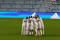 ST PAUL, MN - SEPTEMBER 27: Real Salt Lake players huddle  prior to second half during a game between Real Salt Lake and Minnesota United FC at Allianz Field on September 27, 2020 in St Paul, Minnesota.