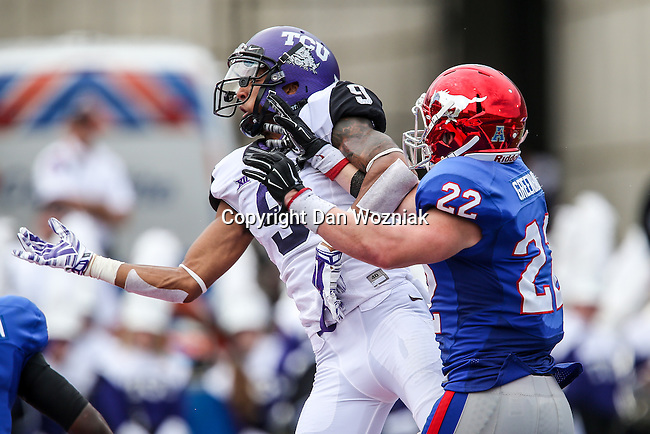 TCU Horned Frogs wide receiver Josh Doctson (9) and Southern Methodist Mustangs defensive back Hayden Greenbauer (22) in action during the game between the TCU Horned Frogs and the SMU Mustangs at the Gerald J. Ford Stadium in Fort Worth, Texas.  TCU leads SMU 28 to 0 at half.