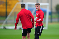 Ben Cabango speaks with Joe Rodon of Wales during the Wales Training Session at The Vale Resort in Cardiff, Wales, UK. Monday 5 October 2020