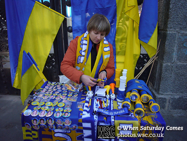 Ukraine 2 Scotland 2, 11/10/2006. Olympic Stadium, Euro 2008 Qualifying. A souvenir stall displaying Ukrainian flags, badges and banners for sale prior to the match between Scotland and Ukraine. Ukraine defeated Scotland 2-0 after a goal-less first half in this Euro 2008 group qualifying match played at the Olympic Stadium in Kyiv (Kiev). This was the first competitive international match between the countries. Photo by Colin McPherson.