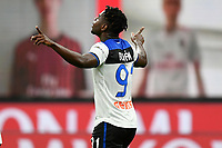 Duvan Zapata of Atalanta BC celebrates after scoring the goal of 1-1 during the Serie A football match between AC Milan and Atalanta BC at stadio Giuseppe Meazza in Milano ( Italy ), July 24th, 2020. Play resumes behind closed doors following the outbreak of the coronavirus disease. <br /> Photo Image Sport / Insidefoto