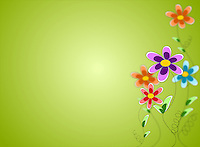Stock illustration of spring background with colorful flowers and fresh green backdrop.<br /> <br /> This image is also available as PNG format.
