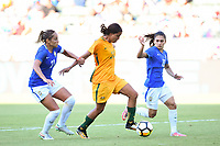 Carson, CA - Thursday August 03, 2017: Monica, Sam Kerr, Leticia during a 2017 Tournament of Nations match between the women's national teams of Australia (AUS) and Brazil (BRA) at the StubHub Center.