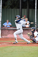 Pulaski Yankees catcher Victor Rey (43) swings at a pitch during game one of the Appalachian League Championship Series against the Elizabethton Twins at Joe O'Brien Field on September 7, 2017 in Elizabethton, Tennessee. The Twins defeated the Yankees 12-1. (Tony Farlow/Four Seam Images)