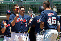 Designated Hitter Sikes Orvis #24 of the Ole Miss Rebels celebrates with this team after taking the lead during the NCAA Regional baseball game against the Texas Christian University Horned Frogs on June 1, 2012 at Blue Bell Park in College Station, Texas. Ole Miss defeated TCU 6-2. (Andrew Woolley/Four Seam Images).