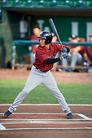 Offerman Collado (0) of the Idaho Falls Chukars bats during a game against the Ogden Raptors at Lindquist Field on August 29, 2018 in Ogden, Utah. Idaho Falls defeated Ogden 15-6. (Stephen Smith/Four Seam Images)