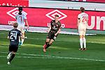 Torjubel, Torschütze Dennis Borkowski (#19, 1. FC Nürnberg). Jae-Sung Lee (#7, Holstein Kiel) und Hauke Wahl Kapitän der Mannschaft (#24, Holstein Kiel).                               , , Nürnberg, Deutschland, 27 April, 2021. Max Morlock Stadion beim Spiel in der 2. Bundesliga, 1. FC Nürnberg - Holstein Kiel    <br /> <br /> Foto © PIX-Sportfotos *** Foto ist honorarpflichtig! *** Auf Anfrage in hoeherer Qualitaet/Aufloesung. Belegexemplar erbeten. Veroeffentlichung ausschliesslich fuer journalistisch-publizistische Zwecke. For editorial use only. DFL regulations prohibit any use of photographs as image sequences and/or quasi-video.