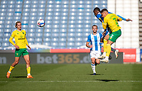 12th September 2020 The John Smiths Stadium, Huddersfield, Yorkshire, England; English Championship Football, Huddersfield Town versus Norwich City; Adama Diakhaby of Huddersfield Town under pressure from  Max Aarons of Norwich City