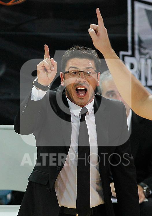 Bizkaia Bilbao Basket's coach Fotis Katsikaris during Supercopa ACB Semifinal match.September 30,2011. (ALTERPHOTOS/Acero)