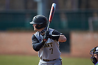 Jake Gustin (7) of the Bryant Bulldogs at bat against the High Point Panthers at Williard Stadium on February 21, 2021 in  Winston-Salem, North Carolina. The Panthers defeated the Bulldogs 3-2. (Brian Westerholt/Four Seam Images)