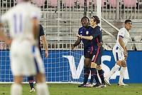FORT LAUDERDALE, FL - DECEMBER 09: Ayo Akinola #9 Brenden Aaronson #8 of the United States celebrates the goal with his teammate during a game between El Salvador and USMNT at Inter Miami CF Stadium on December 09, 2020 in Fort Lauderdale, Florida.