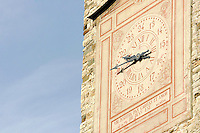 Dettaglio della Torre Civica in Piazza Vecchia a Bergamo. <br /> Detail of the Torre Civica in Piazza Vecchia, Bergamo.<br /> UPDATE IMAGES PRESS/Riccardo De Luca