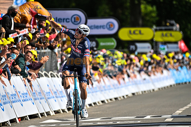 Mathieu Van Der Poel (NED) Alpecin-Fenix wins solo Stage 2 of the 2021 Tour de France, running 183.5km from Perros-Guirec to Mur-de-Bretagne Guerledan, France. 27th June 2021.  <br /> Picture: PresseSports/Bernard Papon | Cyclefile<br /> <br /> All photos usage must carry mandatory copyright credit (© Cyclefile | PresseSports/Bernard Papon)