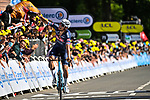 Mathieu Van Der Poel (NED) Alpecin-Fenix wins solo Stage 2 of the 2021 Tour de France, running 183.5km from Perros-Guirec to Mur-de-Bretagne Guerledan, France. 27th June 2021.  <br /> Picture: PresseSports/Bernard Papon   Cyclefile<br /> <br /> All photos usage must carry mandatory copyright credit (© Cyclefile   PresseSports/Bernard Papon)
