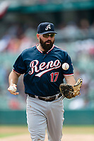 Reno Aces Cody Decker (17) during a game against the Fresno Grizzlies at Chukchansi Park on April 8, 2019 in Fresno, California. Fresno defeated Reno 7-6. (Zachary Lucy/Four Seam Images)
