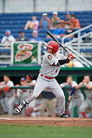 Auburn Doubledays second baseman Kyle Marinconz (4) at bat during a game against the Batavia Muckdogs on September 1, 2018 at Dwyer Stadium in Batavia, New York.  Auburn defeated Batavia 10-5.  (Mike Janes/Four Seam Images)