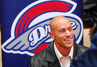 Former Boston Red Sox outfielder Gabe Kapler was introduced as the new manager of the Greenville Drive Saturday at Haywood Mall on February 7, 2007, in Greenville, S.C. Kapler, 31, retired from the major leagues after the 2006 season and will manage Boston's Class A South Atlantic League affiliate. (Tom Priddy/Four Seam Images)