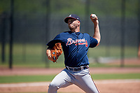 Atlanta Braves pitcher Zach Guth (65) during a Minor League Extended Spring Training game against the Tampa Bay Rays on April 15, 2019 at CoolToday Park Training Complex in North Port, Florida.  (Mike Janes/Four Seam Images)